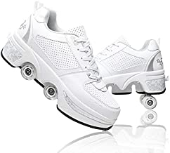 MLyzhe Deformation Roller Shoes Male and Female Skating Shoes Adult Children's Automatic Walking Shoes Invisible Pulley Shoes Skates with Double-Row Deform Wheel