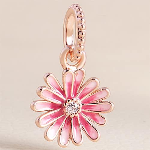 XinLuMing Primavera Rosa Rosa Margaritas Flor cuelga Perla 925 Plata Bricolaje se Adapta a Las Pulseras Originales del Encanto de la joyería de Moda (Color : Pink)