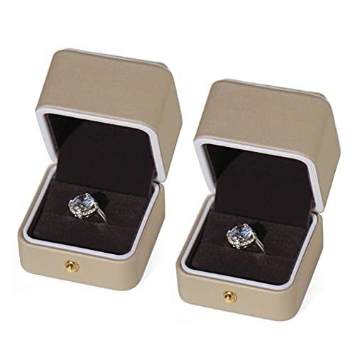 Bract Caja de joyas para guardar anillos, joyero para mujer, pequeño viaje, joyero para collar, oro claro, 5,5 x 5,5 x 5,5 cm