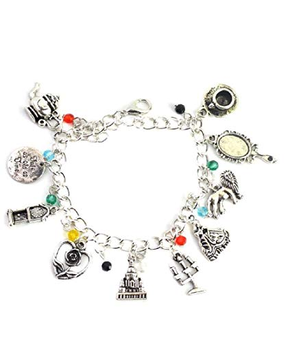 Beauty And The Beast Charm Bracelet Romantic fairy Tale love Story Movie Inspired Silver Bracelet For Girls