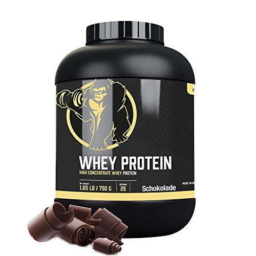 GORILLA SPORTS® Whey Protein Konzentrat Schokolade 750 g – Eiweißpulver Shake zum Muskelaufbau