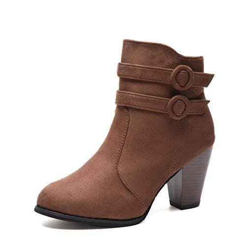 Otoño Invierno Zapato con Cierre de Mujeres Botas Zapatos Casual de Las señoras Martin Botas de Cuero de Gamuza Tobillo Botas de tacón Alto de la Cremallera Bota de la Nieve,Marrón,36