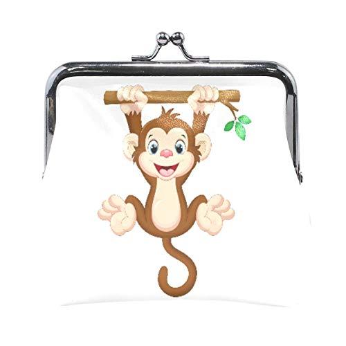 Monedero lindo bebé mono animal colgante árbol lindo monedero para mujeres y niñas retro dinero bolsa con hebilla de beso-bloqueo pequeño monedero titular de cambio de tarjeta