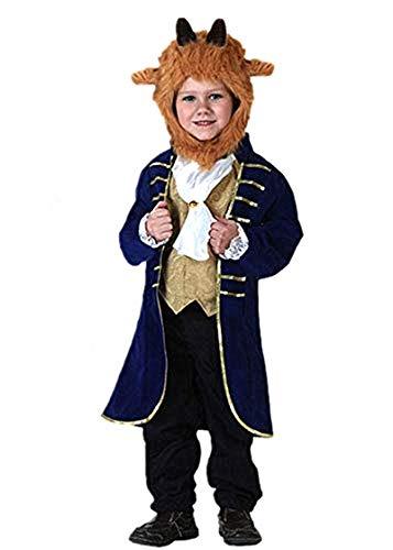 TIMSOPHIA Bestia Disfraz de príncipe vestirse para hombre, ropa de fantasía encantadora para Halloween, Navidad, cumpleaños de 3 a 11 años