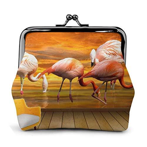 PecoStar Geldbörse für Münzen, Tiere, Vögel, Flamingo, PU-Leder, Kosmetiktasche, Münzverschluss