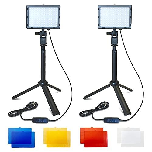 "Fugetek LED Photo/Video Light Kit, Portable, Adjustable, Desktop Tripod Stand 10""-20"", Dimmable, 4 Color Filters, Game Streams, Zoom, YouTube, 2-Pack -  FT-ring-sq"