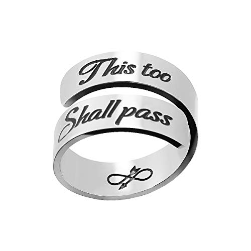 omodofo Inspirational Motivational Ring Adjustable Personalized Stainless Steel Spiral Wrap Twist Ring Encouragement Personalized Jewelry Birthday Gifts for Girls (A -This too shall pass)