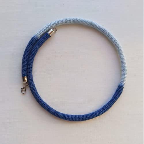 collar gargantilla tejido, collar en ganchillo azul