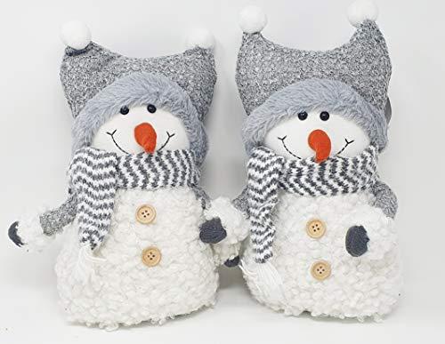 Dekofigur Schneemann 2er Set 37cm hoch Winter / Weihnachtsdeko Figur aus Textil Geschenk Dekofigur