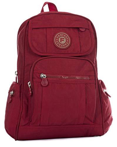 Big Handbag Shop BHBS Stoff Leichter kleiner Rucksack Unisex 24 x 30 x 15 cm (B x H x T) - Red