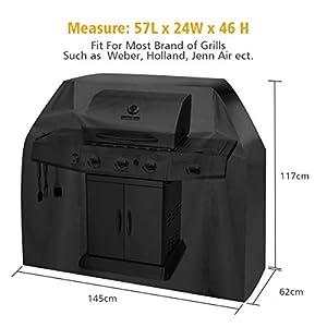 Tvird Funda para Barbacoa Impermeable, Cubierta para Barbacoa 300D Oxford 145 * 61 * 117cm,Protector para Barbacoa Anti-Viento/UV/Impermeabilidad,con Cuerda de Bloqueo