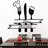 Pegatina de pared 65 cm * 58cm Gran decoración para la cocina Cotizaciones francesas Pegatinas de pared Sala de estar Cocina Cubiertos de vinilo Chef Sombrero Fotomural