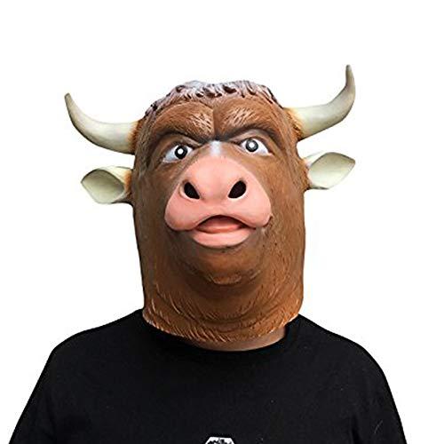 thematys Bull Ox Cattle Bulle Ochse Bull Stier Maske - perfekt für Fasching, Karneval & Halloween - Kostüm für Erwachsene - Latex, Unisex Einheitsgröße