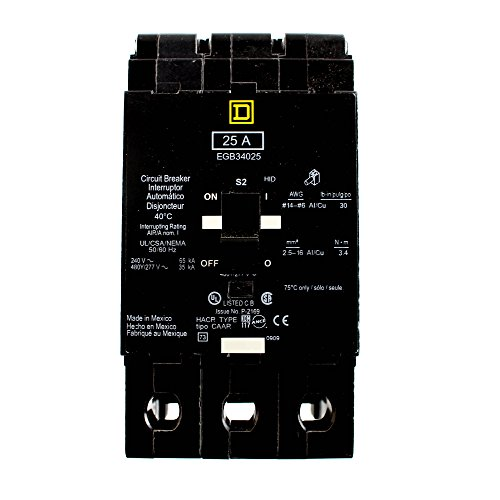 SCHNEIDER ELECTRIC 480Y/277-VOLT 25-AMP EGB34025 Miniature Circuit Breaker 480Y/277V 25A, Black