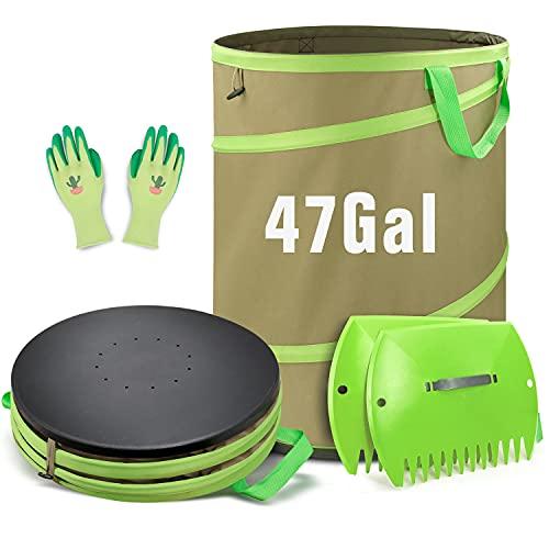 Colwelt 47 Gallon Leaf Bags Collapsible, Hardshell Bottom Heavy Duty Collapsible Garden Bag, Pop up Garden Waste Reusable Bag Include Leaf Scoop, Garden Gloves