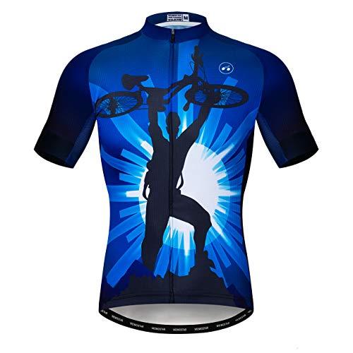 Fahrradtrikot für Herren, Mountainbike-Trikot, Sommer, kurzärmelig, atmungsaktiv, schnell trocknend - - XL Brust 108/116 cm