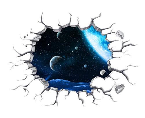 GLEDO -Etiqueta De La Pared del Cielo Estrellado De La Pared Rota 3D / Dormitorio, Sala De Estar, Etiqueta De La Pared De La Habitación De Los Niños/Pintura Decorativa Ambiental