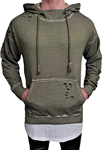 Oversize Hoodie Designer Sweat Jacke Cardigan Hoody Pullover Shirt Herren Camouflage Longsleeve m NEU Kapuzen-Pullover Long Sweatjacke Sweatshirt Pulli Longshirt Body Skater Swag deep Neck (L, Khaki)