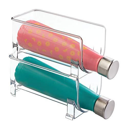 mDesign Flaschenregal – stapelbare Aufbewahrung für Wasserflaschen bzw. Trinkflaschen – ideal für Küchenschränke und Arbeitsplatten – für 2 Flaschen, transparent