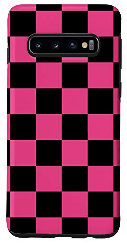 Galaxy S10 Checkered Black And Pink Checkerboard Phone Case