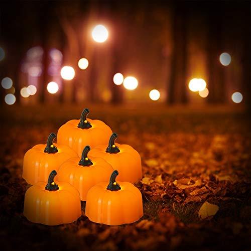 Halloween Pumpkin Lights, PChero 12pcs a Batteria senza Fiamma LED Tea Lights Candela per Halloween, Ringraziamento, Natale e Decorazioni Natalizie
