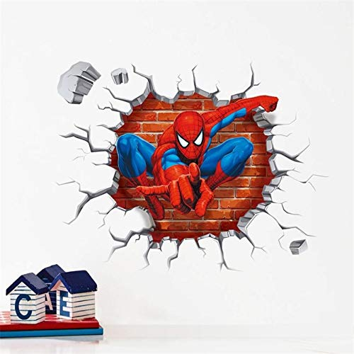 IOP 3D Cartoon Spiderman Wall Stickers Super Hero For Boys Kids Rooms Home Decor Nursery Wall Decals Gift Wallpaper