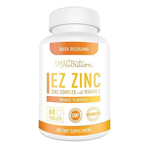 EZ Zinc Quick Dissolve Tablets Plus Vitamin C - 25mg of Zinc Per Serving - Zinc Gluconate, Zinc Glycinate Chelated with TRACCS, Zinc Oxide, & 100mg Vitamin C - Daily Zinc for Cold Support*