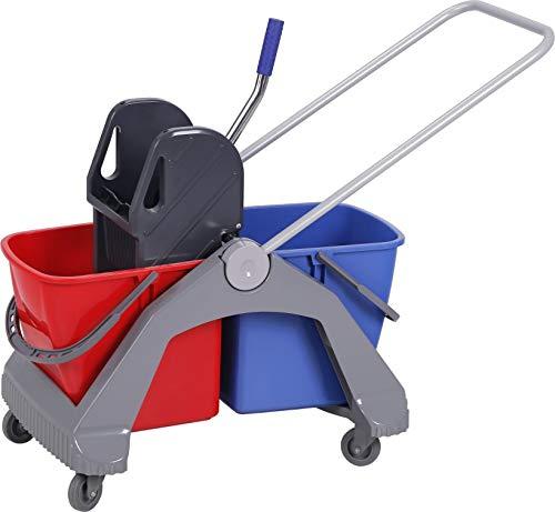 Chiner - Carro de limpieza con doble cubo de 30 litros y prensa. Carro de fregado profesional con ruedas y doble cubo ALBERT...