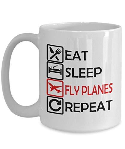 A.Patience Grappige Luchtmacht Mok, Koffie Mok 11 Oz - Eet Slaap Vliegtuigen Herhaal - Grappige Luchtmacht Geschenken voor moeder, Vrouwen, Zuster, Vrouw van Dochter, Zoon, Kleindochter, Kinderen voor Moederdag - Keramisch