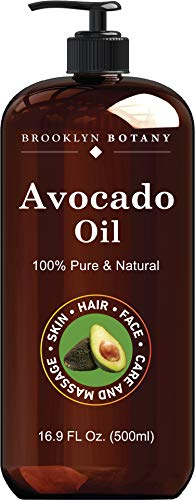 Brooklyn Botany Avocado Oil for Skin and Hair – 100% Pure and Cold Pressed – Carrier Oil for Essential Oils, Aromatherapy and Massage - Moisturizing Skin, Hair and Face – Therapeutic Grade - 16 fl Oz