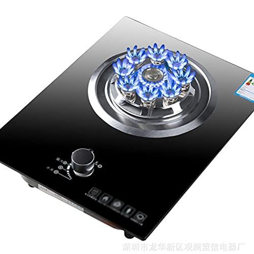 Cocina de gas Cocina de vidrio templado negro Cocina de gas empotrada con nueve cavidades Potencia de fuego feroz y protección contra fallas de llama para la cocina casera Cocina de mesa [Clase energé