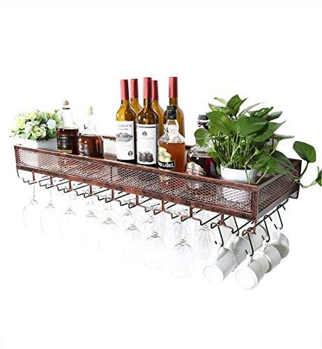 TTWUJIN Estante para vino, montado en la pared, bar, restaurante, estante para botellas de vino, s Soporte de pared Soporte vintage de metal de pie libre | Soporte colgante para bandeja de copa de vi