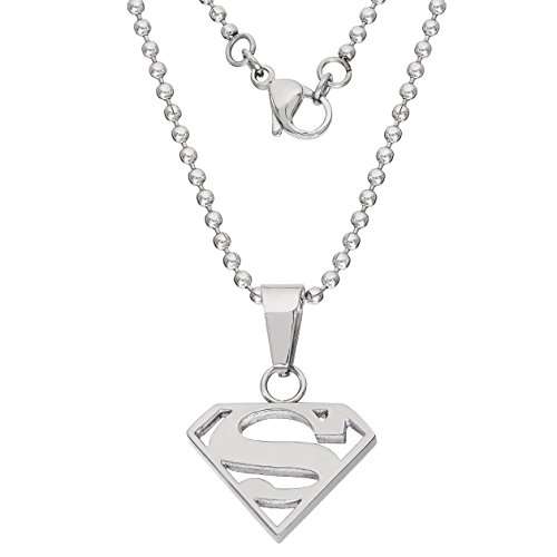 Product Image 5: DC Comics Jewelry Superman, Stainless Steel Cutout Logo Pendant, 16″ Ball Chain