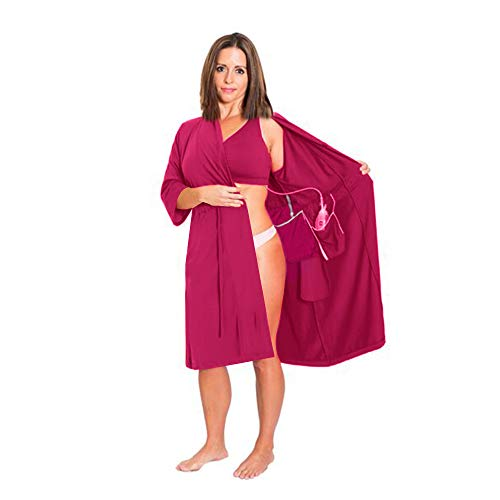 The Original Post Surgery Mastectomy, Breast Cancer Recovery Robe with Internal Pockets by Brobe (Large, Berry)