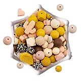 let's make Silikon Loose Bead Craft Set für Schmuck, Beißringe, Halsketten & Armbänder BPA-frei/Ungiftig (Schnullerclip Einschließen) -Gelbe Serie