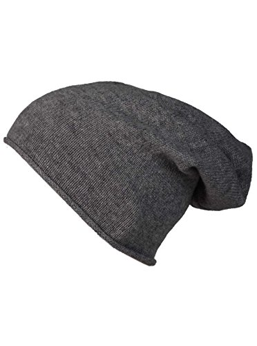 Cashmere Dreams Slouch-Beanie-Mütze mit Kaschmir - Hochwertige Strickmütze für Damen Mädchen Jungen - Hat - Unisex - One Size - warm und weich im Sommer Herbst und Winter Zwillingsherz (ant)