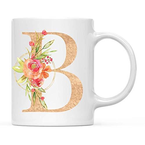 Taza de cerámica para té y café, Regalo de Boda para Dama de Honor, Flores de jardín inglés, Letra B con Monograma, Despedida de Soltera para niñas y Mujeres, Regalos para Bodas, 11 oz