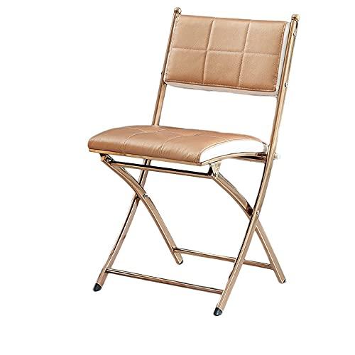 Silla plegable de jardín, Luz ligera Luz Mesa de comedor de lujo y silla plegable de silla, silla de respaldo de la conferencia de oficina en el hogar, silla plegable de acero inoxidable portátil, sil