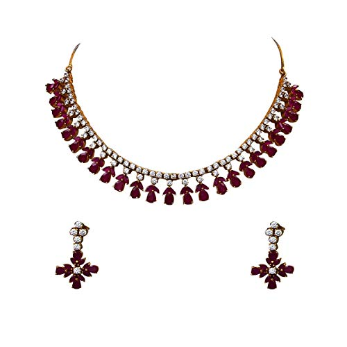 CaratYogi Leaf Design Necklace with Drop Earring for Women Girls Ladies Pink CZ Ruby Unique Design Chokar Jewellery Gold Plated Silver Plated Chain Haar Haram Fashion Jewellery for Womens MMN 32-RED
