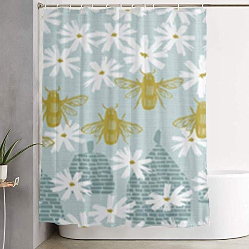 DHGER Duschvorhang Honey Bees Printed Shower Curtains Waterproof Washable Polyester Fabric 60 X 70 Inch Bathroom Decor Set with Hooks