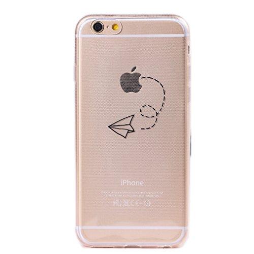 Keyihan Cover Compatibile con iPhone 6 e iPhone 6S 4,7' Custodia Ultra Leggera Sottile Trasparente Chiaro disegni Morbida Silicone TPU Case Divertente Nero Pattern (aereo di carta)