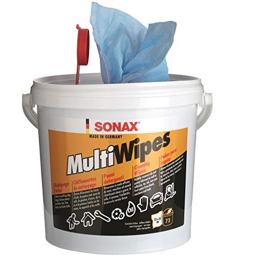 SONAX MultiWipes (72 Stück) reißfeste & widerstandsfähige Viskosevliestücher, entfernt Öl, Fett, Kleber, Teer, Tinte, Wachs und Farbe, auch für Hände geeignet | Art-Nr. 04680000