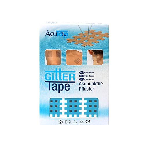 AcuTop Typ A, Gitter Tape, Blau - 180 Tapes, Akupunktur Pflaster, Gitterpflaster