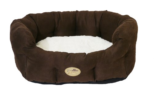 Rosewood 40 Winks Oval Choc Faux Suede Sleeper, 28-inch, Cream