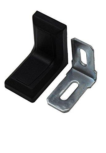 10x Stuhlwinkel 30x30x18mm mit Kunststoff Abdeckung Möbel Winkel Flachwinkel (Schwarz)