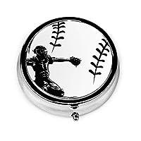 野球 打って ピルボックス丸型 円型 小物入れ 薬入れ くすり整理ケース ミニボックス ミニサイズ メタル収納ケース 携帯便利 軽量 薬箱シールピース収納装置 錠剤ケース