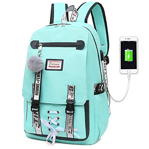 Girls Backpack Teen Anti-theft Rucksack Female Student Schoolbag (green)