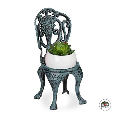 Relaxdays Mini Blumenbank, Gusseisen, antiker Blumenständer für Topfpflanze, Vintage, Deko, Garten & Balkon, dunkelgrün