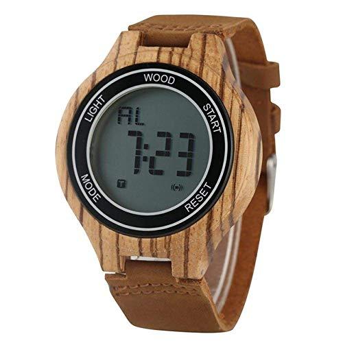 AZDS Reloj de Madera LED Relojes Digitales para Hombres Retro Madera de ébano Hecho a Mano Electrónico Hombres Cuero Leñoso Deporte Reloj para Hombre