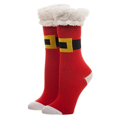 Novelty Santa Belt and Suit Ugly Christmas Crew Socks